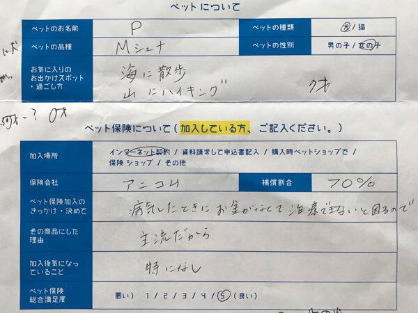 Mシュナウザー、Pちゃんの口コミアンケート回答用紙